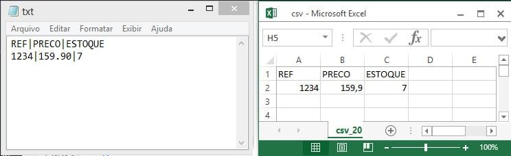 Arquivo TXT e CSV