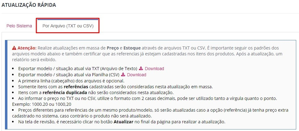 Atualização Rápida TXT ou CSV