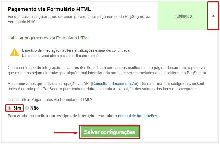 Habilitar HTML PagSeguro