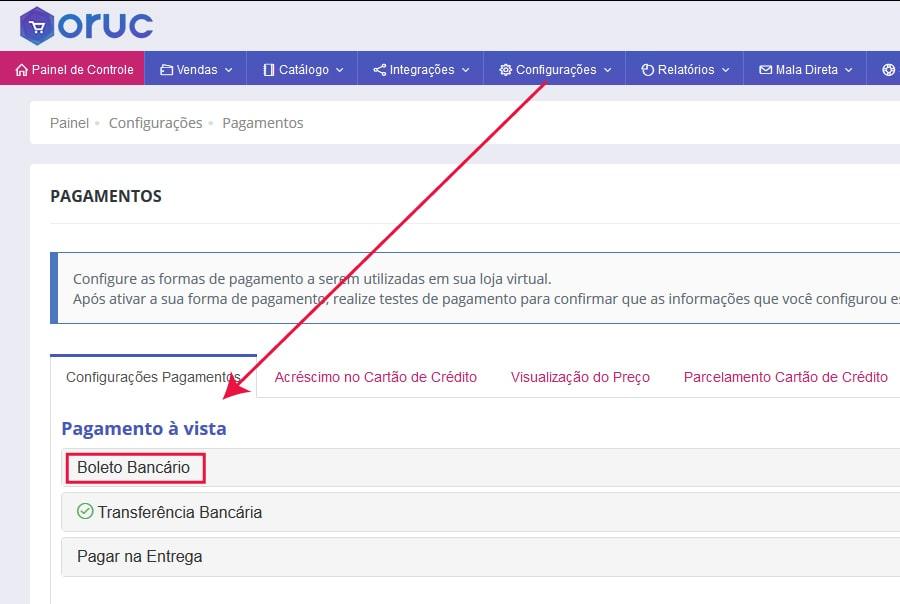 Seção Boleto Bancário - Oruc - Como configurar e homologar boleto bancário do Bradesco na Oruc