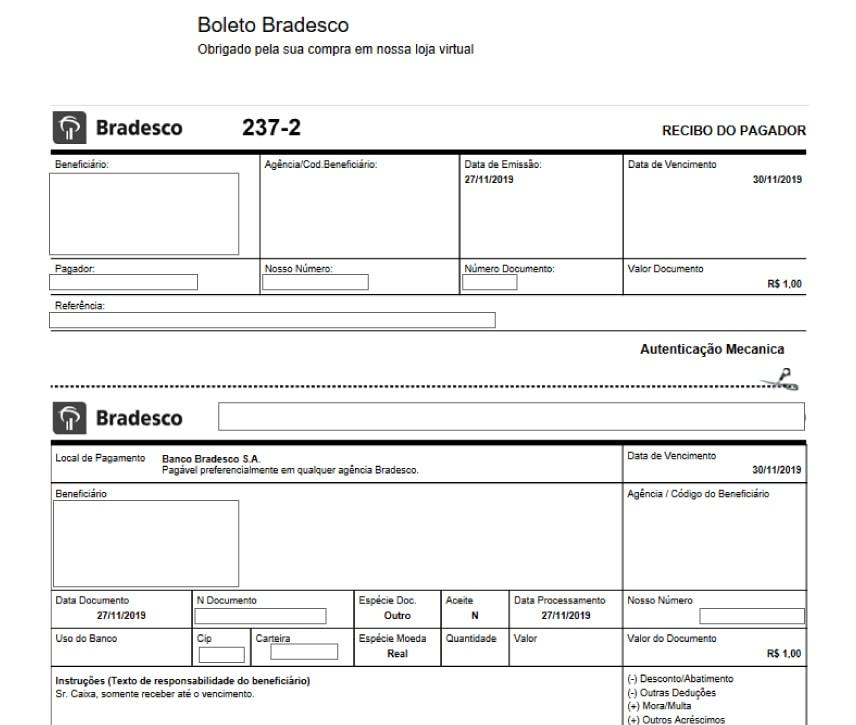 Exemplo de Boleto Final - Como configurar e homologar boleto bancário do Bradesco na Oruc