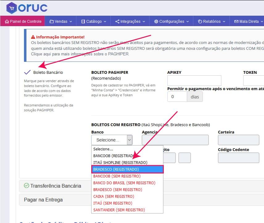Ativando Boleto Bradesco - Como configurar e homologar boleto bancário do Bradesco na Oruc