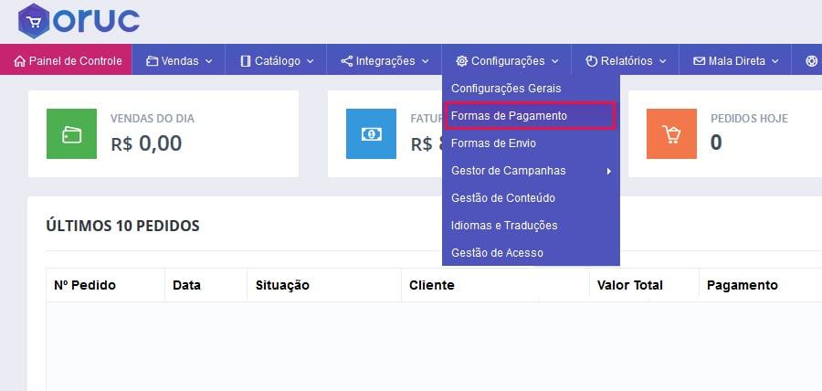 Menu Oruc Formas de Pagamento - Como configurar e homologar boleto bancário do Bradesco na Oruc