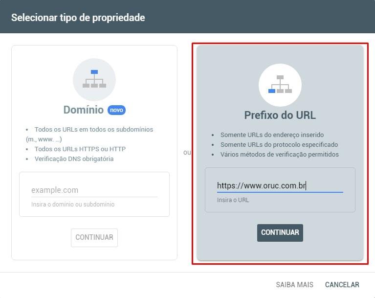 Prefixo do URL Search Console