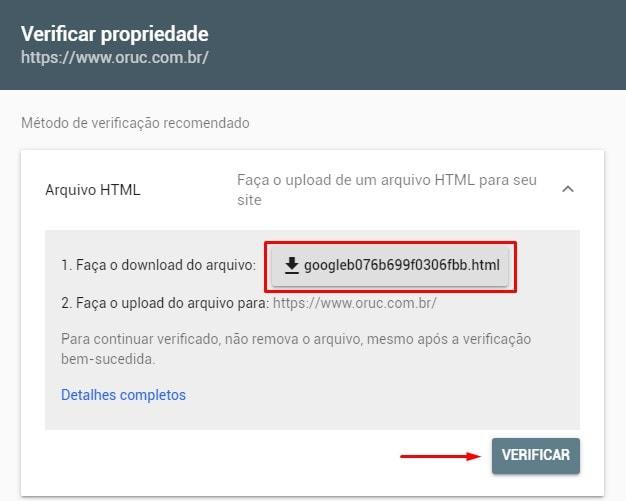 Verificar Propriedade Google